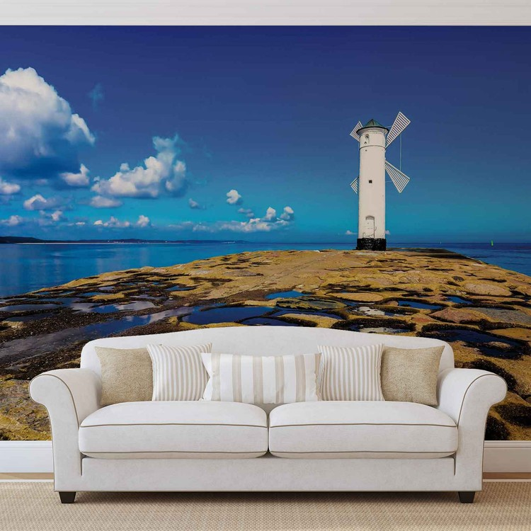 Windmill Facing Out To Sea Wallpaper Mural