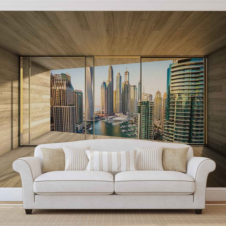 Window Dubai City Skyline Marina Wallpaper Mural