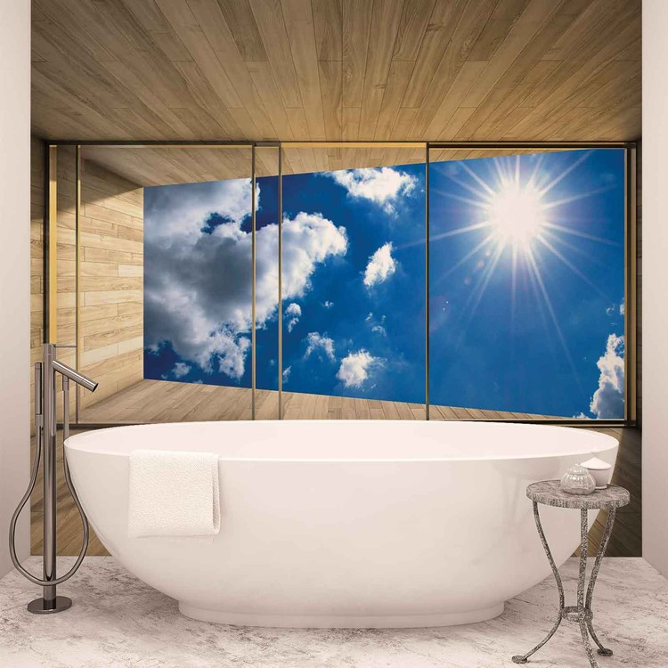 Window Sky Clouds Sun Nature Wallpaper Mural