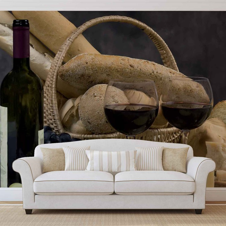 Wine And Bread Wallpaper Mural