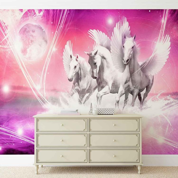 Winged Horse Pegasus Pink Wallpaper Mural