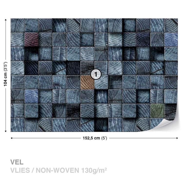 Wood Blocks Texture Dark Grey Wallpaper Mural
