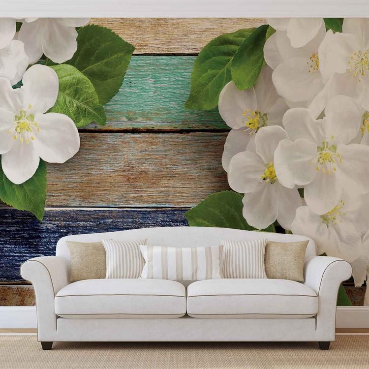 Wood Fence Flowers Wallpaper Mural