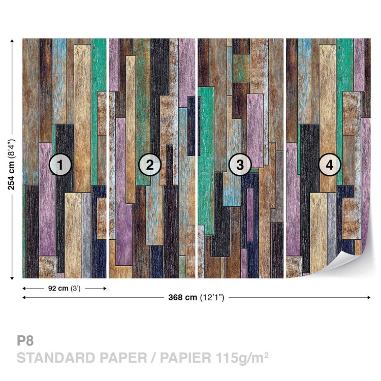 Wood Planks Painted Rustic Wallpaper Mural