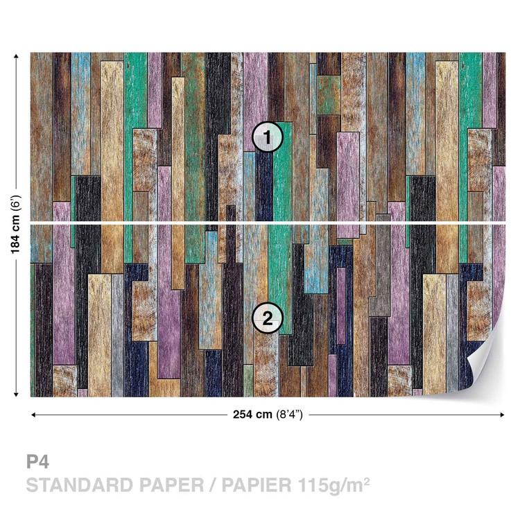 Wood Planks Painted Rustic Wallpaper Mural