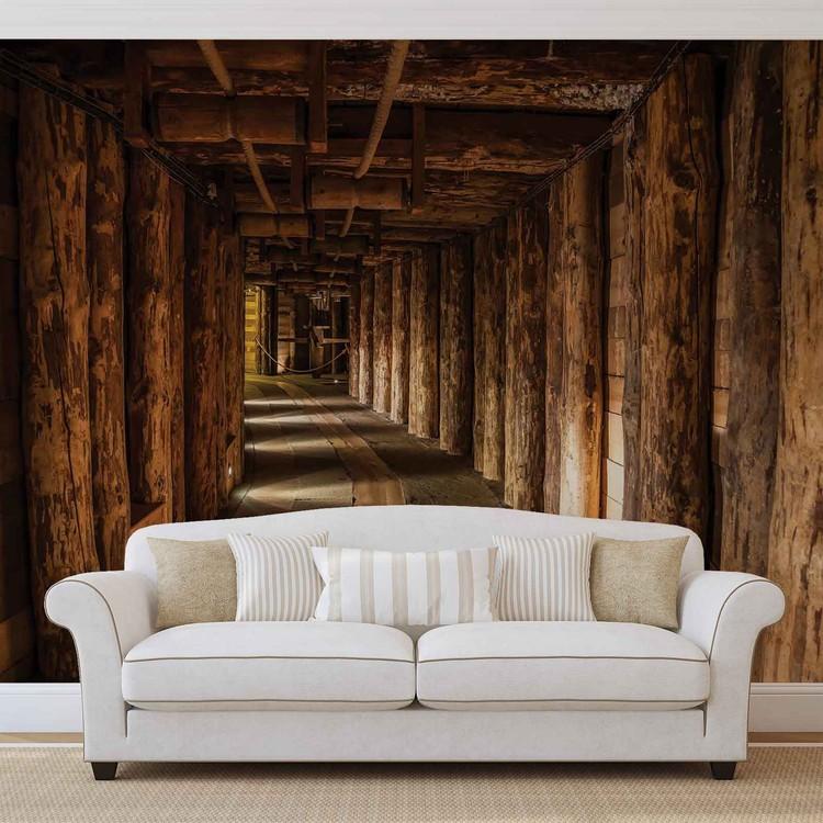 Wood Tunnel Mine Wallpaper Mural