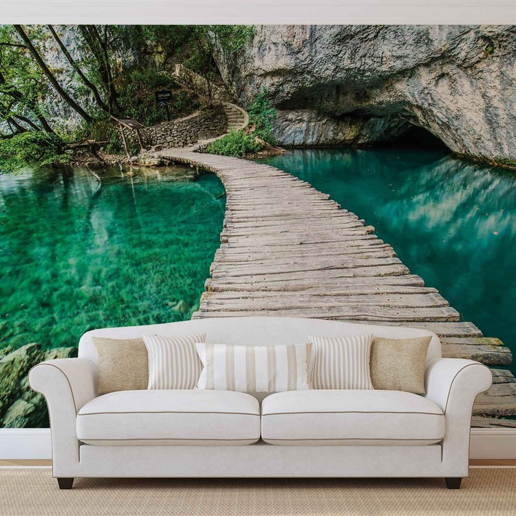 Wooden Bridge in Lagoon Wallpaper Mural
