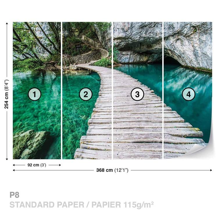 Wooden Bridge in Lagoon Wallpaper Mural