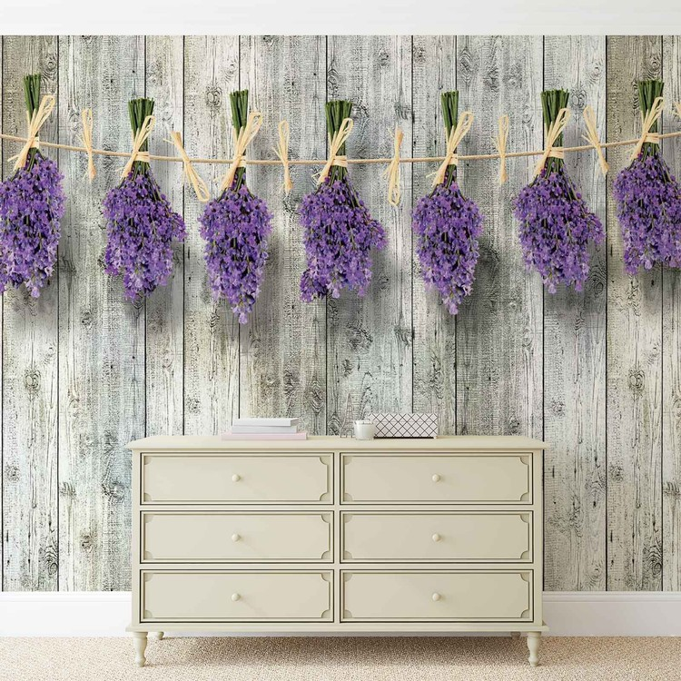 Wooden Wall Flowers Lavender Wallpaper Mural