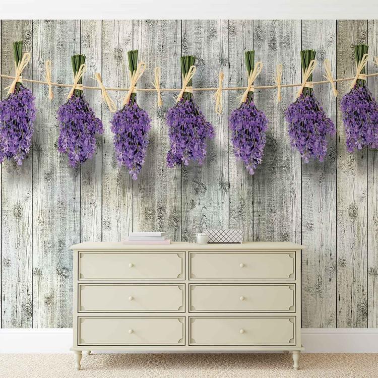 Wooden Wall Flowers Lavender Wallpaper Mural