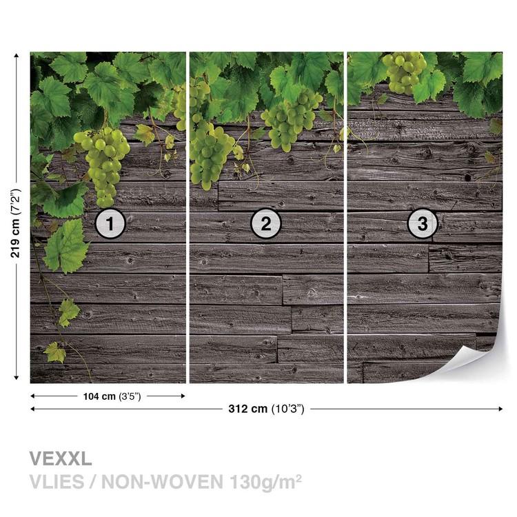 Wooden Wall Grapes Wallpaper Mural