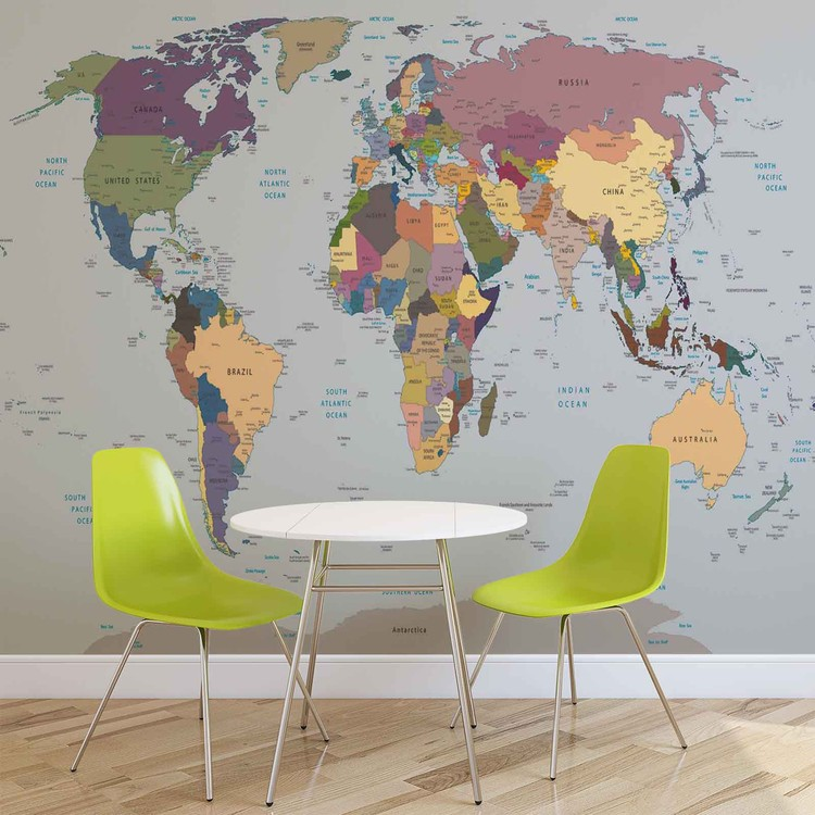 World map wall paper mural buy at europosters world map wallpaper mural gumiabroncs Image collections