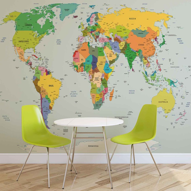 World map wall paper mural buy at europosters world map wallpaper mural world map wallpaper mural gumiabroncs Image collections