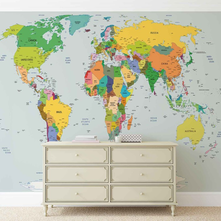 World Map Wall Paper Mural