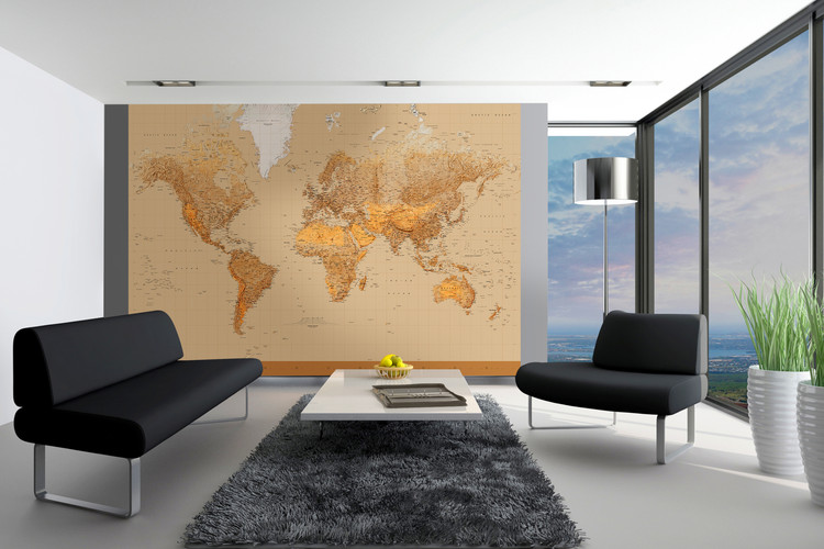 World Map - Antique Style Wallpaper Mural