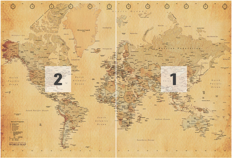 World Map Antique Style Wall Mural Buy At EuroPosters - Map of the world antique style