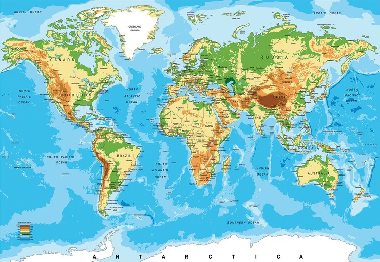World Map Atlas Wallpaper Mural