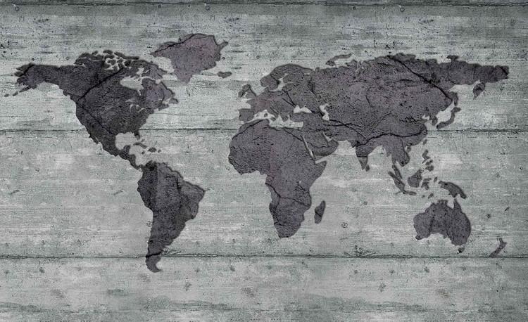 World Map Concrete Texture Wallpaper Mural