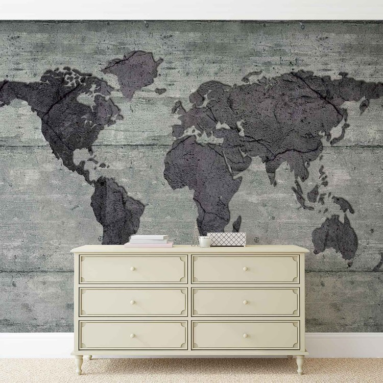 World Map Concrete Texture Wallpaper Mural