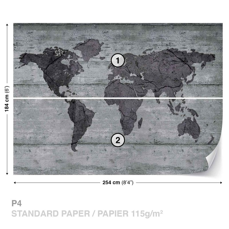 World map concrete texture wall paper mural buy at europosters world map concrete texture wallpaper mural gumiabroncs Images