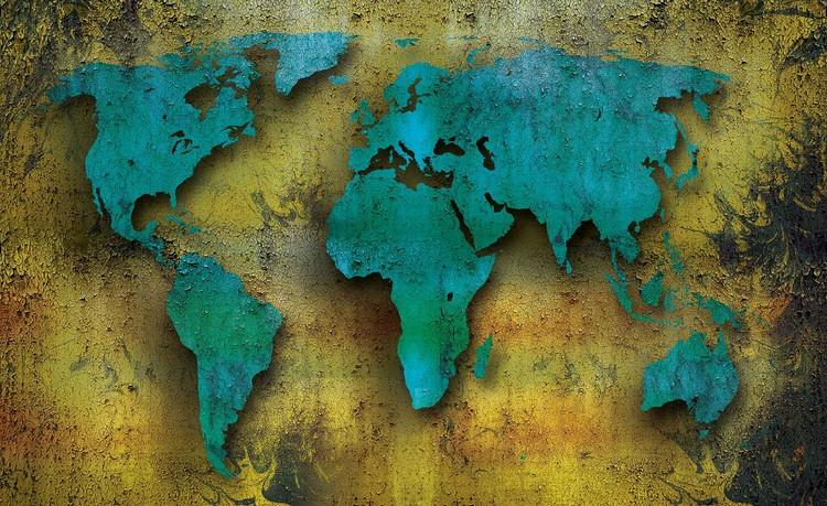 World Map On Wood Wallpaper Mural