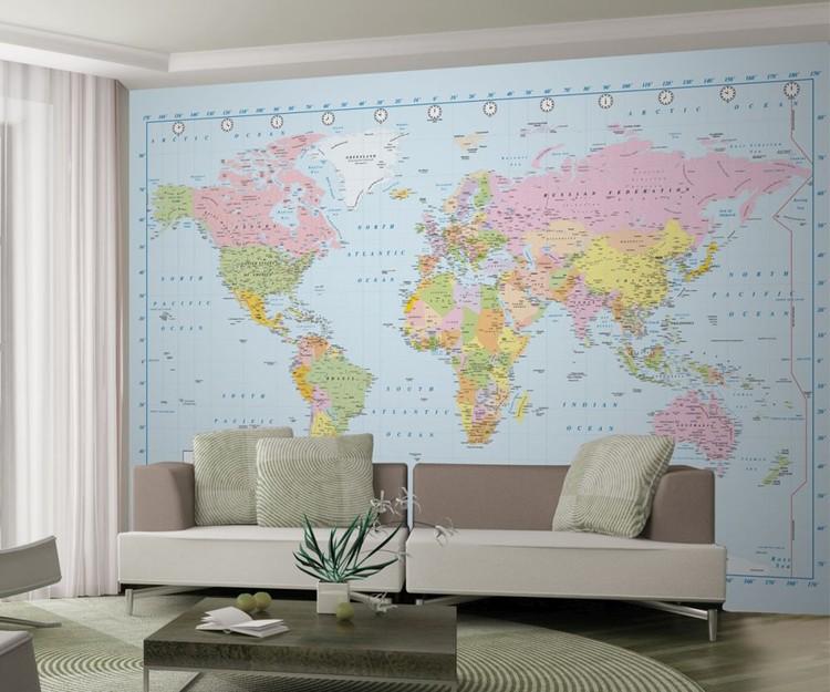 World Map - Political Wallpaper Mural