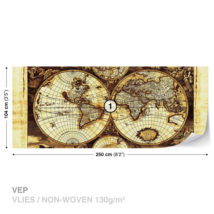World Map Vintage Wallpaper Mural
