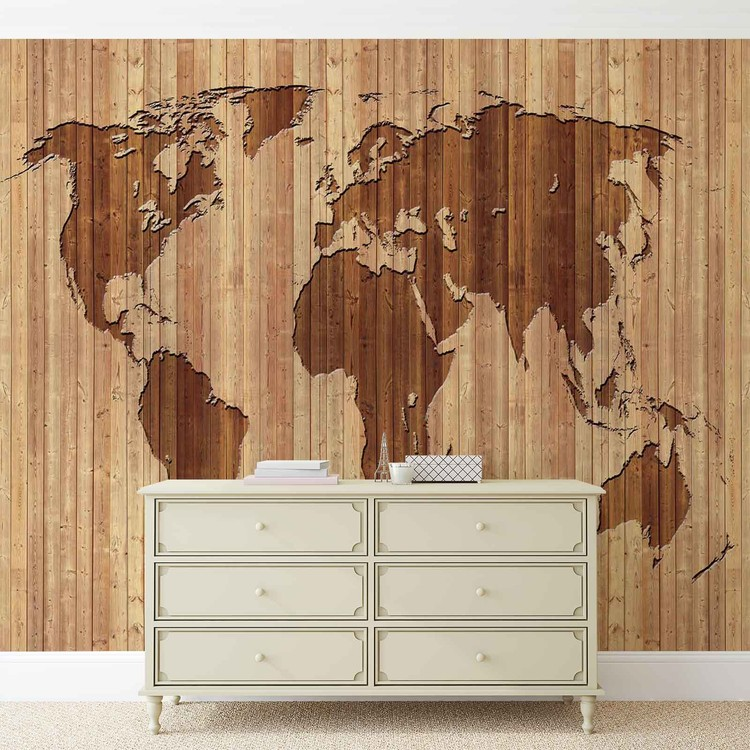 World Map Wood Wallpaper Mural