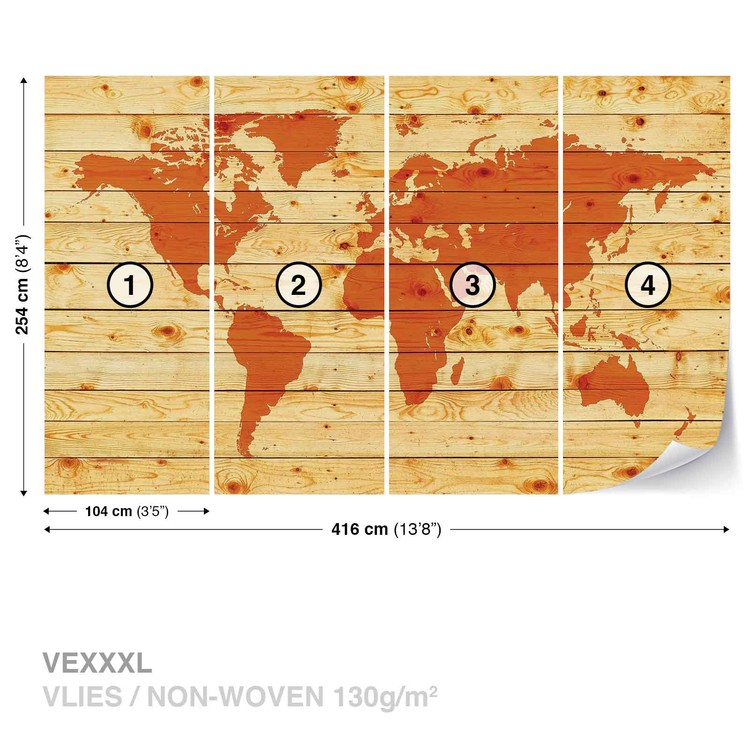 World Map Wood Planks Wallpaper Mural