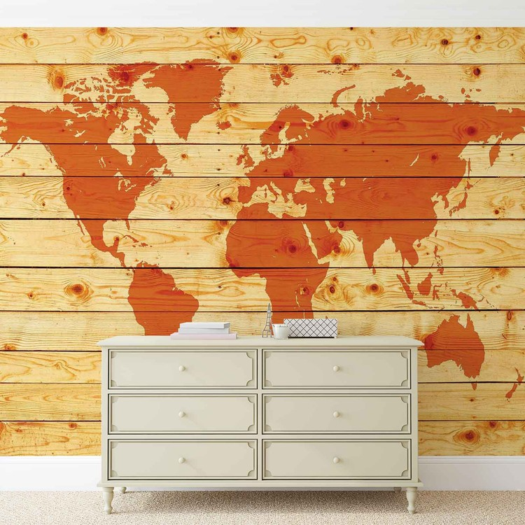 World Map Wood Planks Wallpaper Mural