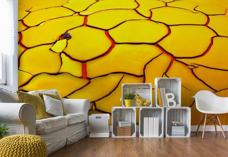 Yellow Ground, Red Heart Wallpaper Mural