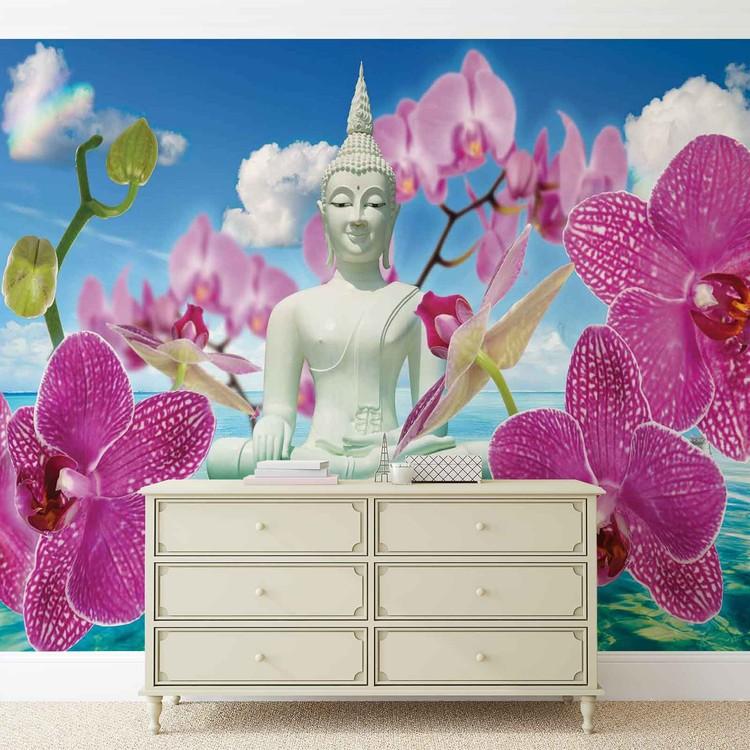 Zen Flowers Orchids Buddha Water Sky Wallpaper Mural