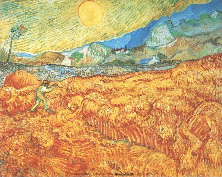Wheat Field with Reaper, 1889 Reproduction d'art