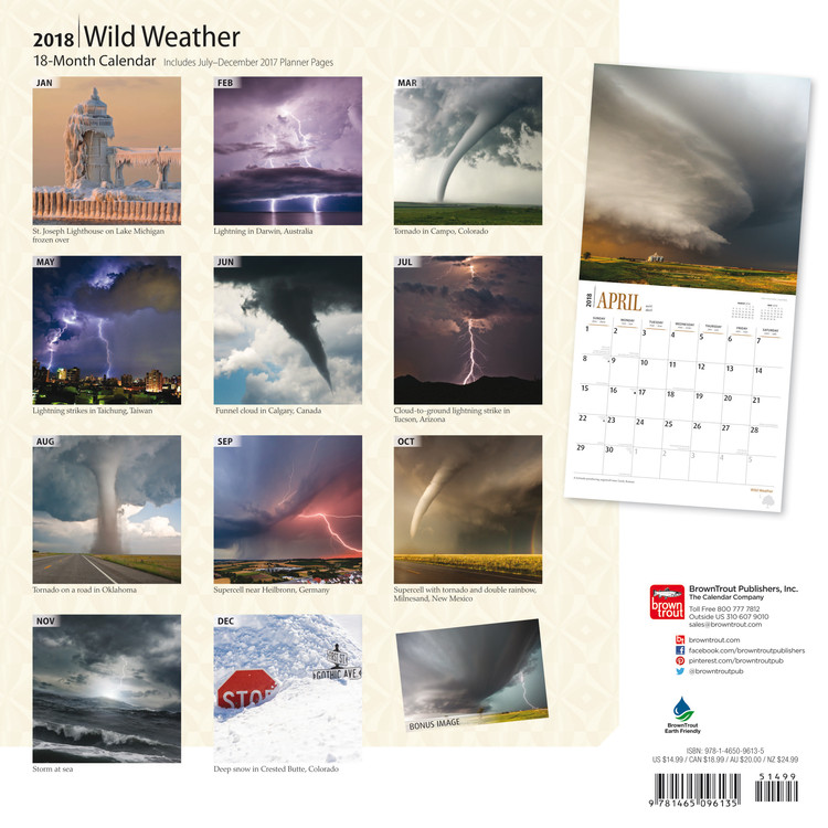 Weather Calendar 2022.Wild Weather Wall Calendars 2022 Large Selection