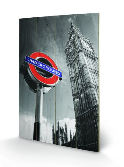 London - Underground Sign & Big Ben Wooden Art
