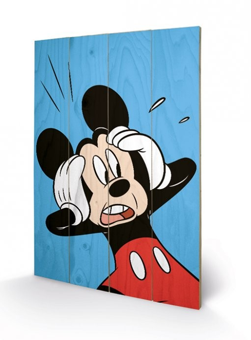 Mickey Mouse - Shocked Wooden Art
