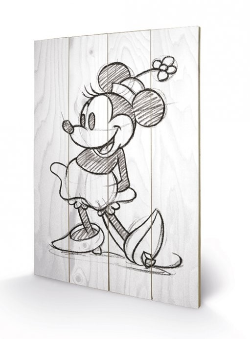 Minnie Mouse - Sketched - Single Wooden Art