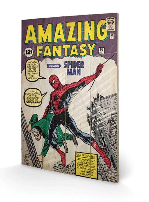 Spiderman - Amazing Fantasy Wooden Art