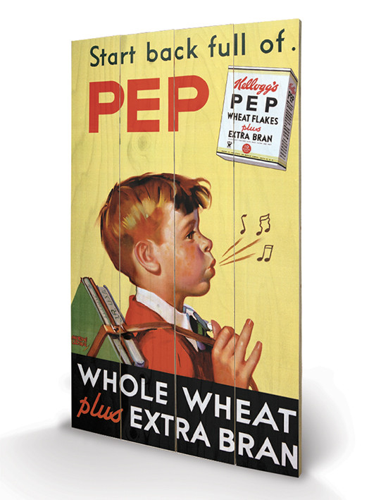 Vintage Kelloggs - Start Back Full Of Pep Wooden Art